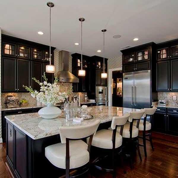 Classically Modern Black Kitchen Cabinets Make Simple Design