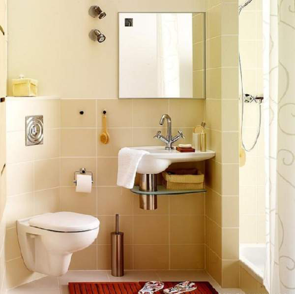 10 Small House Interior Design Solutions: Photo 18 Repairing A Small Bathroom With A Hanging Toilet