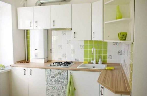 Also a gas column in the design of the kitchen can be \u201chidden\u201d in the hanging cabinet of the kitchen set with the closing door. Thanks to this disguise ... & Design of a small kitchen: design ideas on 45 photos - Make Simple ...